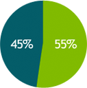 Consumer Banking: 55%, Commercial Banking: 45%